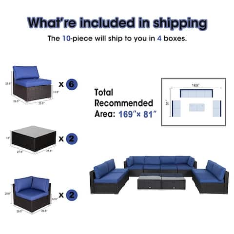 Kinbor Patio Scetional Sofa, Outdoor Wicker Conversation Set, All-Weather Cushioned Patio Sofa Set, Navy Blue