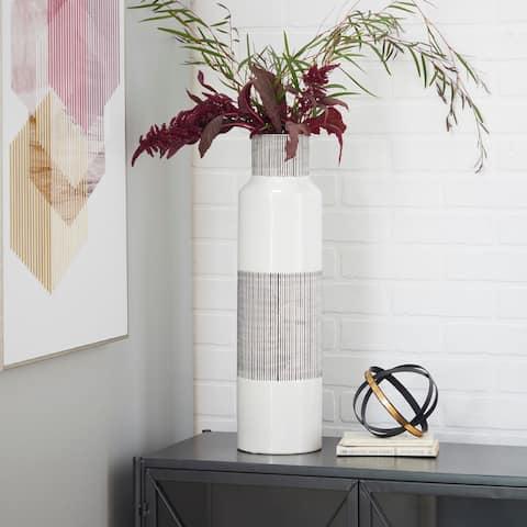 CosmoLiving by Cosmopolitan White Ceramic Modern Vase