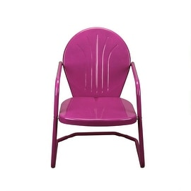 "34"" Berry Purple Retro Metal Outdoor Tulip Chair"