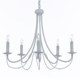White Wrought Iron Chandelier Chandeliers Lighting 5 Light Fixture Country French