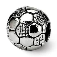 Sterling Silver Reflections Kids Soccer Ball Bead (4mm Diameter Hole)
