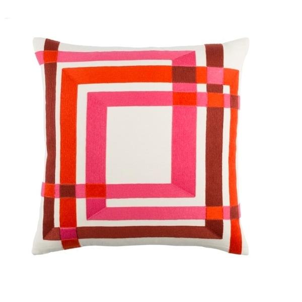 "22"" Hot Pink, Mandarin Orange, and White Woven Decorative Throw Pillow – Down Filler"