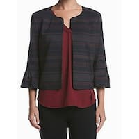 Nine West Black Red Womens Size 4 Striped Open Front Seamed Jacket