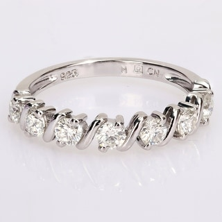 Link to Miadora 3/4ct DEW Moissanite Semi-Eternity Wedding Band Ring in Sterling Silver Similar Items in Rings