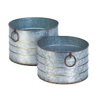 Round Galvanized Planters