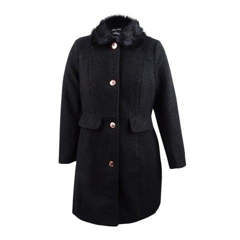 City Chic Women's Plus Size Faux-Fur-Trim Textured Walker Coat (S/16W, Black) - Black - S/16W