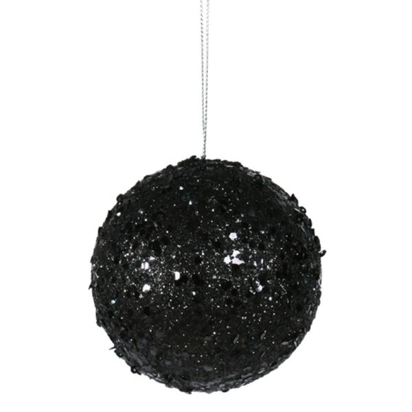 """Fancy Black Glitter Drenched Christmas Ball Ornament 3"""" (80mm)"""