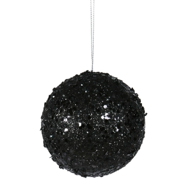 "Fancy Black Glitter Drenched Christmas Ball Ornament 4"" (100mm)"