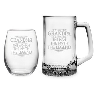 Grandma & Grandpa Stemless Wine Glass and Beer Mug Set - Myth, Legend
