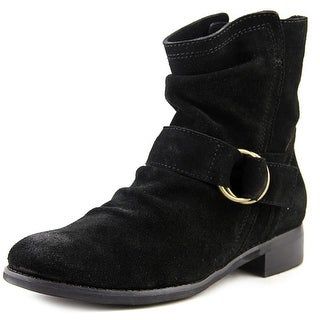 All Black Ring Buckle Women Round Toe Suede Black Ankle Boot
