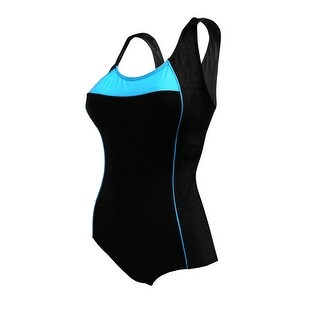 One-Piece Cross Back Swimsuit in Black and Turquoise