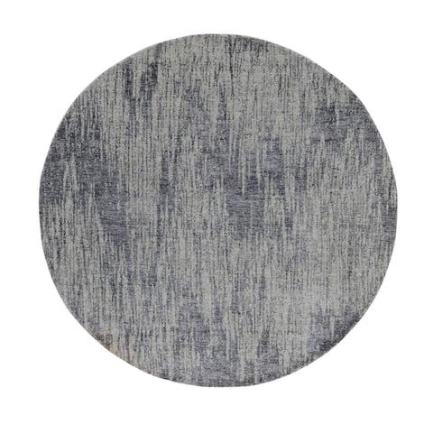 "Shahbanu Rugs Gray Fine jacquard Hand Loomed Modern Wool and Art Silk Round Oriental Rug (5'9"" x 5'9"") - 5'9"" x 5'9"""