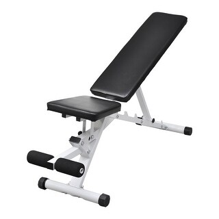 vidaXL Fitness Workout Utility Bench Adjustable Back with Leg Curl - Black