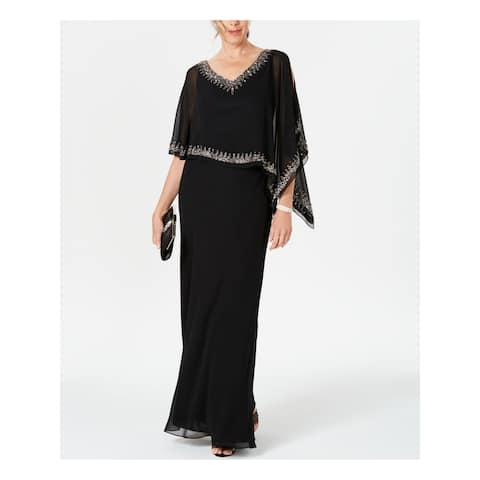 JKARA Black Kimono Sleeve Full-Length Dress 6