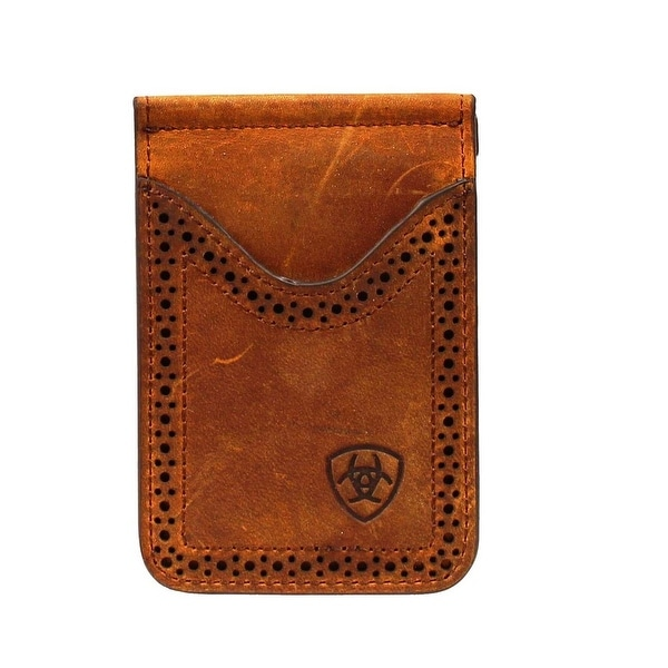 Ariat Western Wallet Mens Leather Card Case Clip Medium Brown - One size