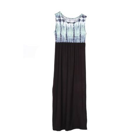 Lori & Jane Girls Mint Black Tie-Dye Print Sleeveless Maxi Dress