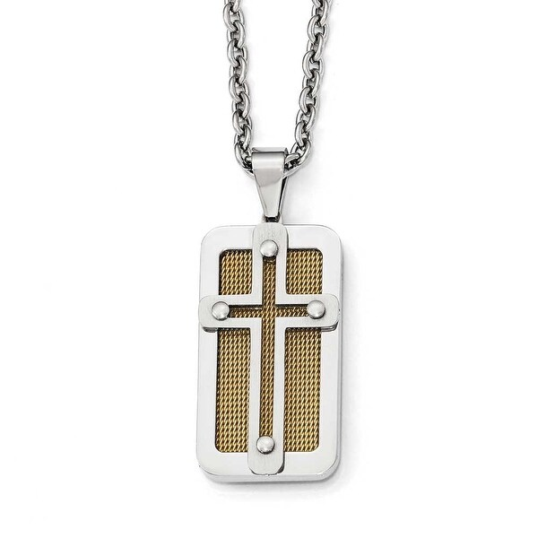 Chisel Stainless Steel Polished Yellow IP-Plated Wire Inlay Cross Necklace - 24 in