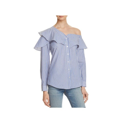 Bardot Womens Casual Top Ruffled Striped