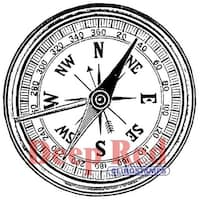 "Compass - Deep Red Cling Stamp 2""X2"""