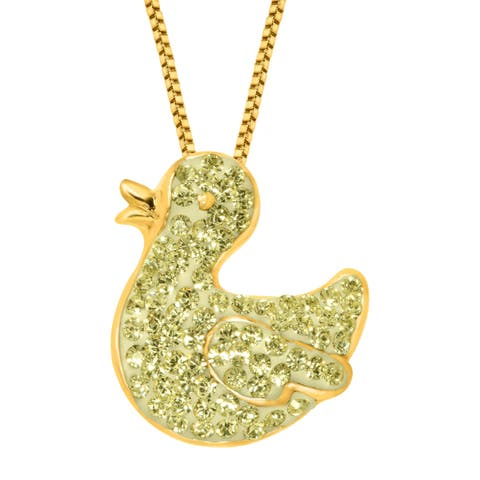 Crystaluxe Duck Pendant with Swarovski Crystals in 18K Gold-Plated Sterling Silver - Yellow