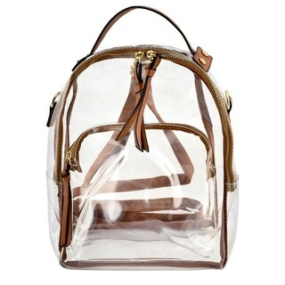 Girls Brown Strap Zip Transparent Mini Backpack 10(W) X 5(D) X 12.5(H) inch - One size