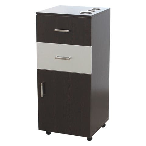 BELLA Rolling Styling Station, Rolling Stylist Cart with Drawer Storage Cabinet, Brown/White