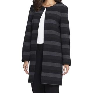 Tahari By ASL NEW Black Grey Women's Size 2 Striped Topper Coat