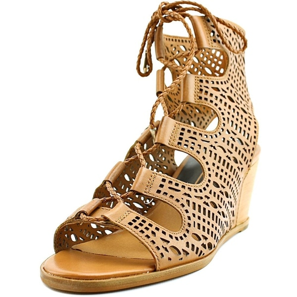 Dolce Vita Lamont Women Open Toe Leather Tan Wedge Sandal