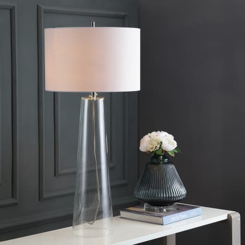 """Safavieh Lighting 38-inch Myrtle Clear/ Off-White Table Lamp (Set of 2) - 17""""x17""""x38.125"""""""