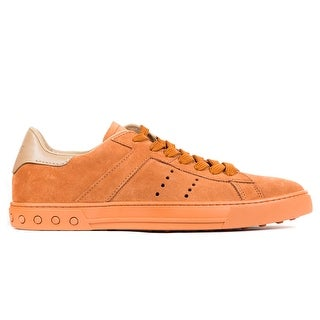 Tod's Men's Orange Suede Low Top Lace Up Sneakers