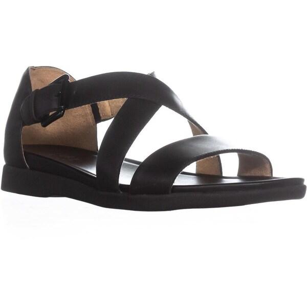 naturalizer Elliott Ankle Strap Flat Sandals , Black