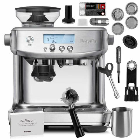 "Breville BES878BSS Barista Pro Stainless Steel Espresso Machine w/ LCD Interface + Built-In Grinder - 14""x16""x16"""