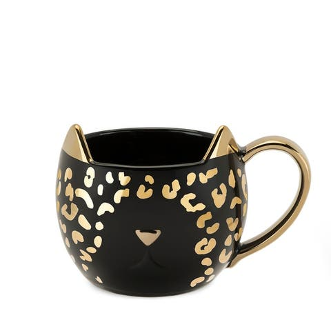 Chloe Black Leopard Cat Mug by Pinky Up