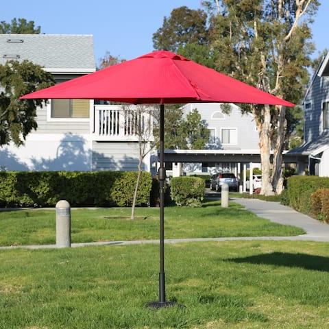 Davee Furniture 6.5' Square Patio Umbrella Outdoor Table Market Umbrella with Tilt/Crank, 4 Ribs (Red)