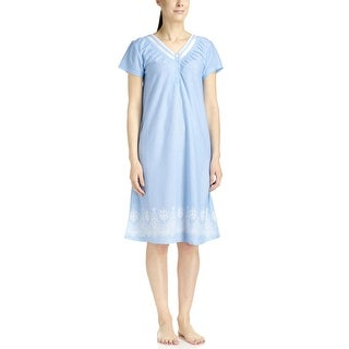 Body Touch Women's Blue Border Print Short Sleeve Nightgown