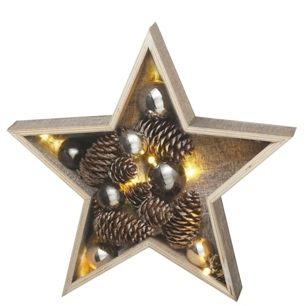 "15"" Battery Operated LED Lighted Medium Country Rustic Wooden Star Christmas Decoration"