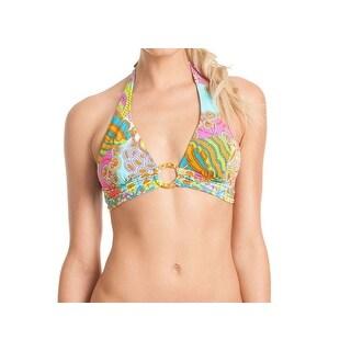 Trina Turk NEW Blue Women's Size 4 Bikini Top Printed Hardware Swimwear
