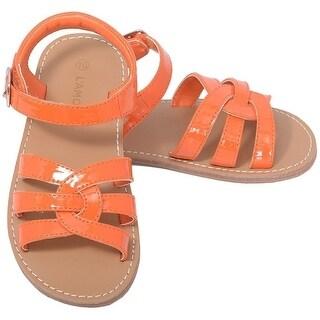 L'Amour Patent Orange Woven Strap Summer Sandals Little Girls 11-4