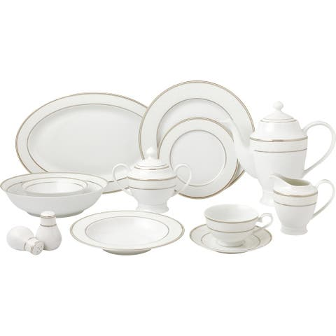 57 Piece Silver Dinnerware Set-New Bone China Service for 8 People