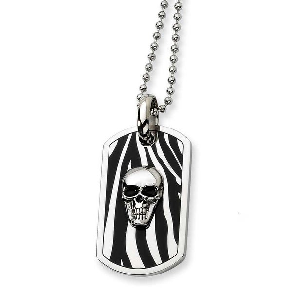 Chisel Stainless Steel Enameled Skull Dogtag Necklace (2 mm) - 24 in