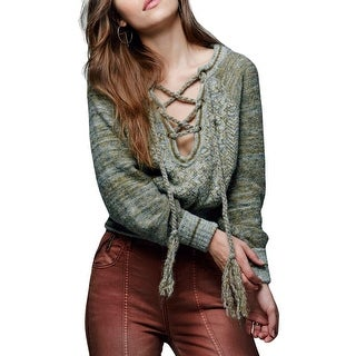 Free People Womens Pullover Sweater Printed Long Sleeves