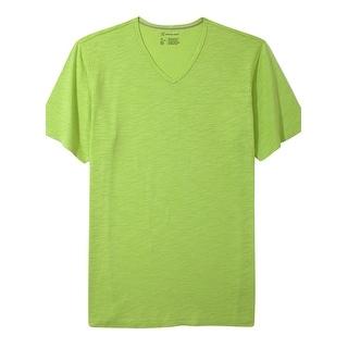 INC International Concepts T-Shirt Sunny Lime Yellow V-Neck Tee Shirt