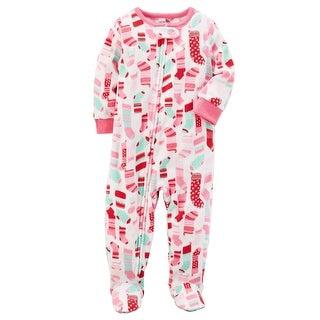 Carter's Girls' 1 Pc. Fleece Holiday Pajama - Pink Stocking - 12 Months
