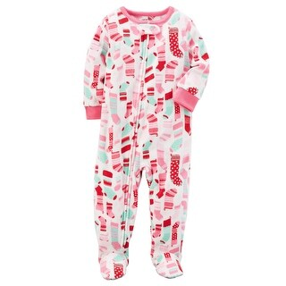 Carter's Girls' 1 Pc. Fleece Holiday Pajama - Pink Stocking - 24 Months