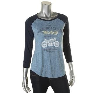 Lucky Brand Womens Baseball Tee Raglan Sleeve Graphic - xs
