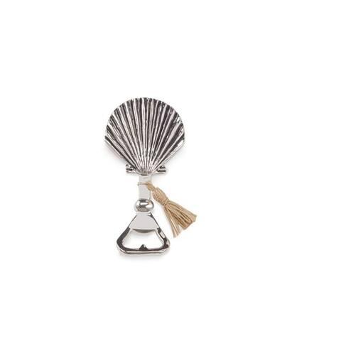 Mud Pie Fan Shell Shape with Tassle Bottle Opener Aluminum Handheld