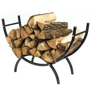 Sunnydaze Curved Firewood Log Rack - Options Available - Black (More options available)