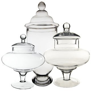 CYS® Apothecary Glass Jar/Vase Container Candy Buffet with Lid, Set of 3