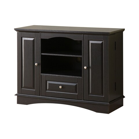 "WE Furniture 42"" Highboy Wood TV Media Stand Storage Console - Black"