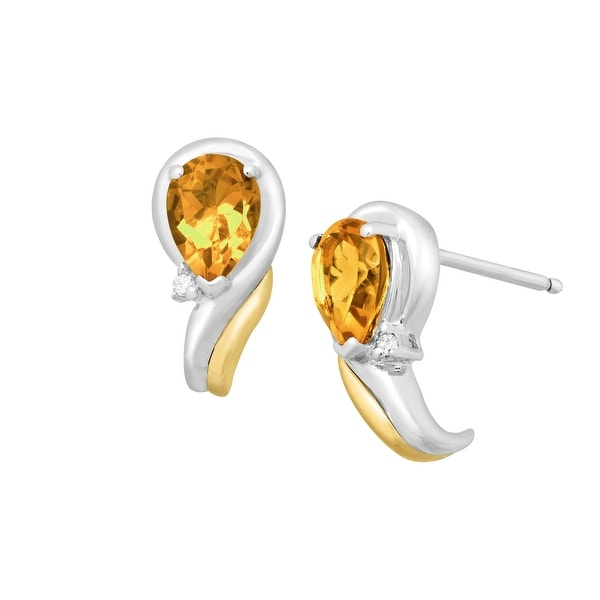 1 1/3 ct Natural Citrine Earrings with Diamonds in Sterling Silver & 14K Gold